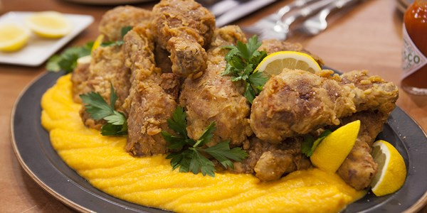 bestemor's sweet tea-brined fried chicken with butternut squash puree