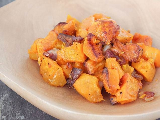 bakt butternut squash with bacon