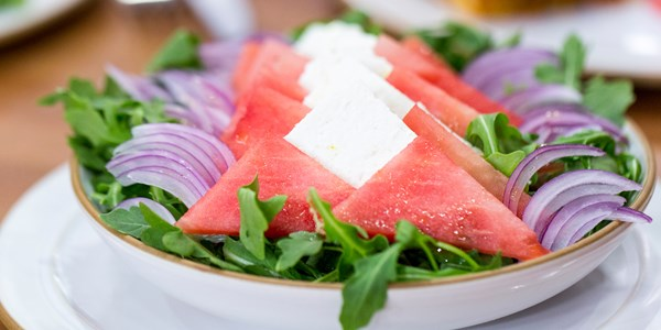 5-ingrediens Watermelon, Feta and Arugula Salad