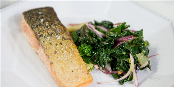 Pan-Seared Salmon with Braised Kale