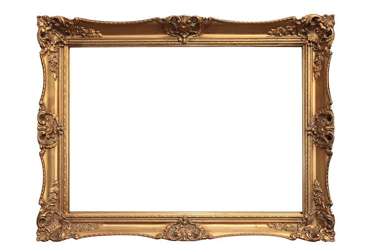 Vazio gold ornate picture frame with white background