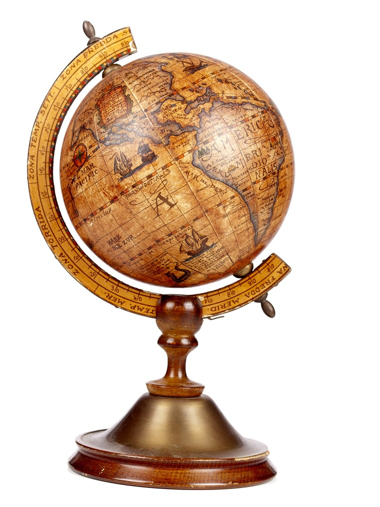 A old brown vintage globe on a small stand