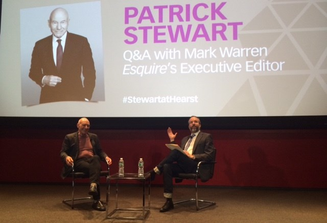 Untuk the Hearst Corporation's Master Class series, Esquire executive editor Mark Warren interviewed actor Patrick Stewart at an event leading up to the premiere of Stewart's new Starz series,