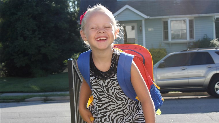 Elle Christianson on her first day of KG.