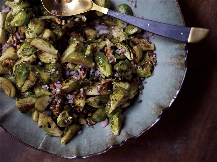 Michael Symon's Roasted Brussels Sprouts with Capers, Walnuts and Anchovies
