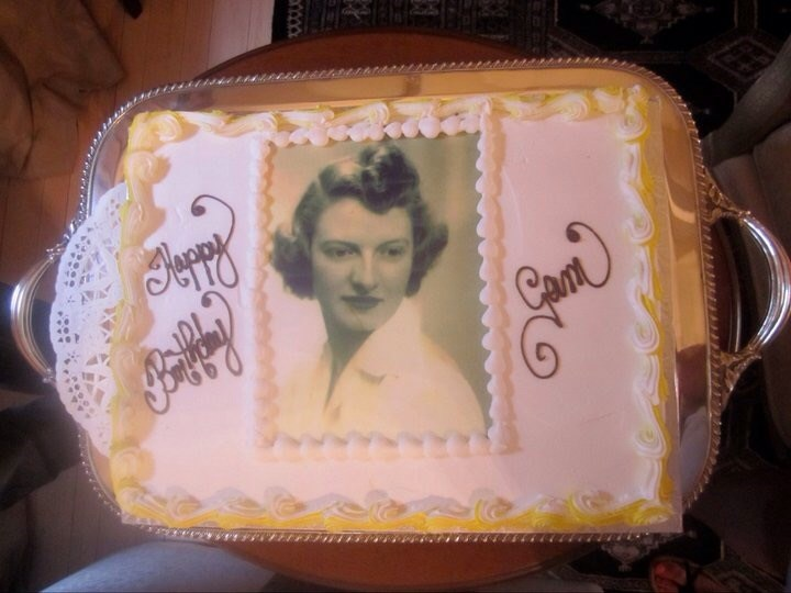 Mary Stocks pictured on a cake.