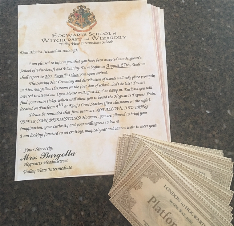 Each student (err, wizard-in-training) received a magical acceptance letter.