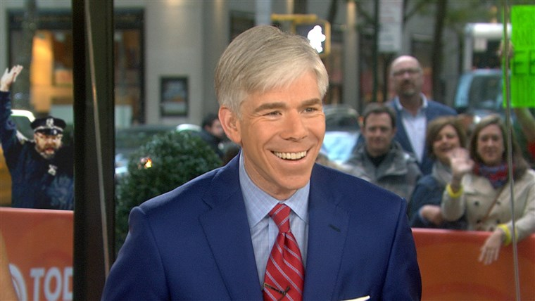 I our version of the meme, the celebrating Boston police officer is pumped up for Monday's edition of TODAY as he watches David Gregory.