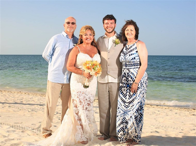 James Melton and his wife, Janie, with Sonny and Heather Melton on their wedding day.