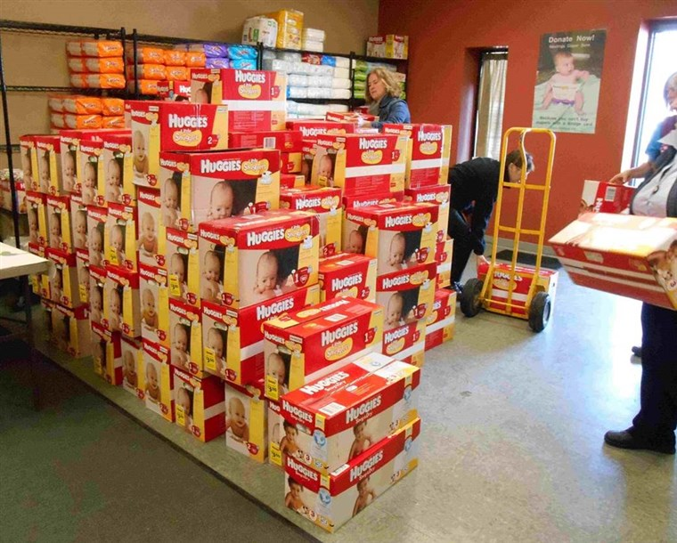 dozen of donated diapers arrive at Nestlings Diaper Bank, which serves Western Michigan.