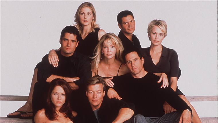 o 7Th Year Of Melrose Place (L) To R John Haynnes Newton Kelly Rutherford Rob Estes Heath