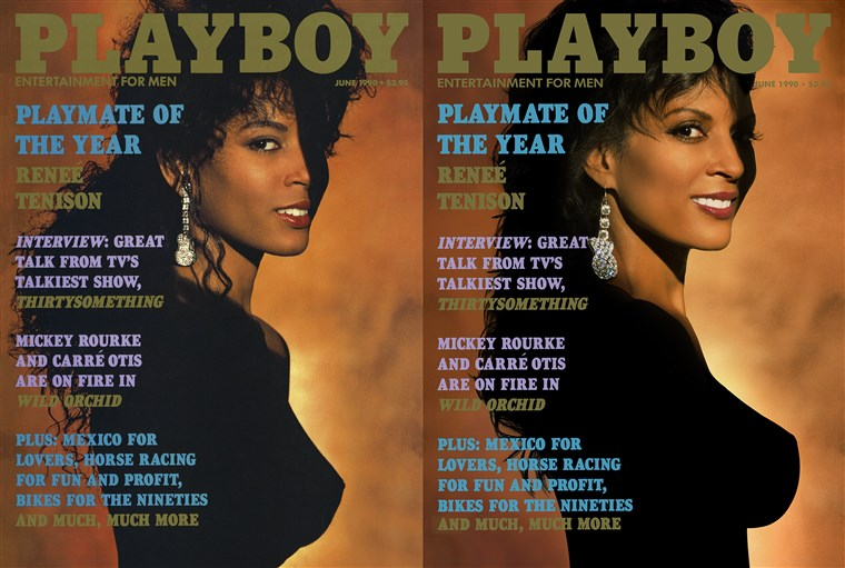 Renée Tenison in 1990 and today. She was the magazine's first black Playmate of the Year.