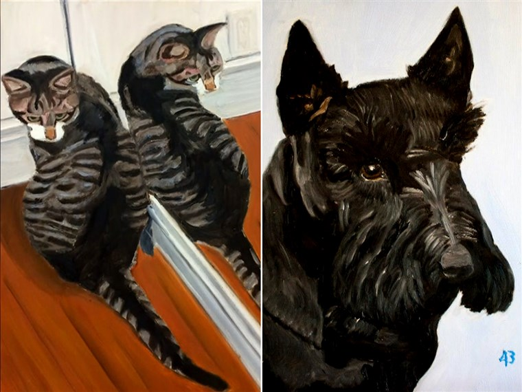 Tidligere President George W. Bush chose his pets -- his dog, Barney, and cat, Bob -- as the subjects of his initial paintings.