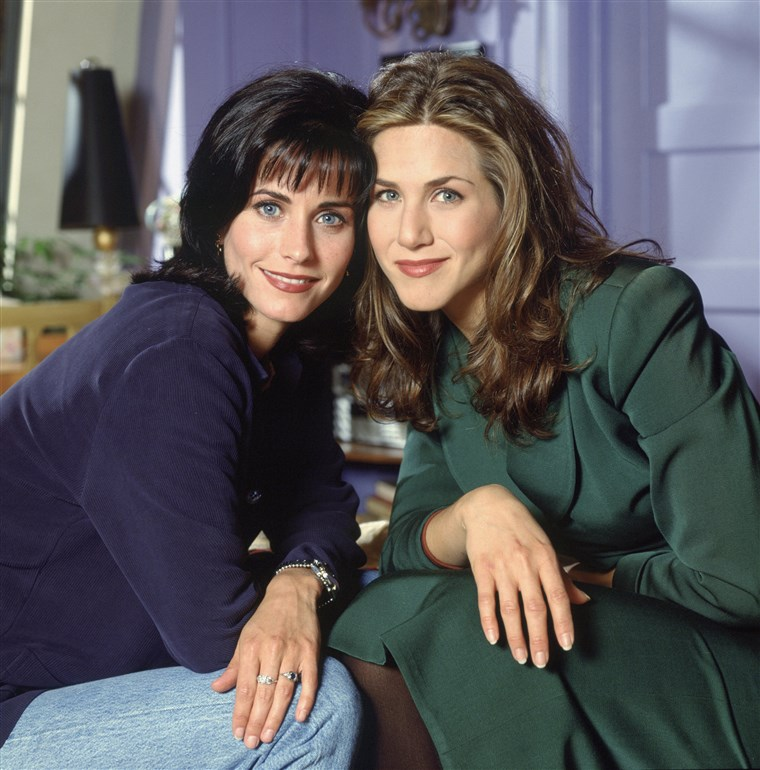 Courteney Cox Arquette as Monica Geller, Jennifer Aniston as Rachel Green