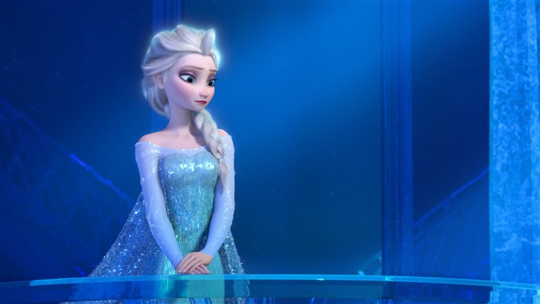 Dette image released by Disney shows a teenage Elsa the Snow Queen, voiced by Maia Mitchell, in a scene from the animated feature