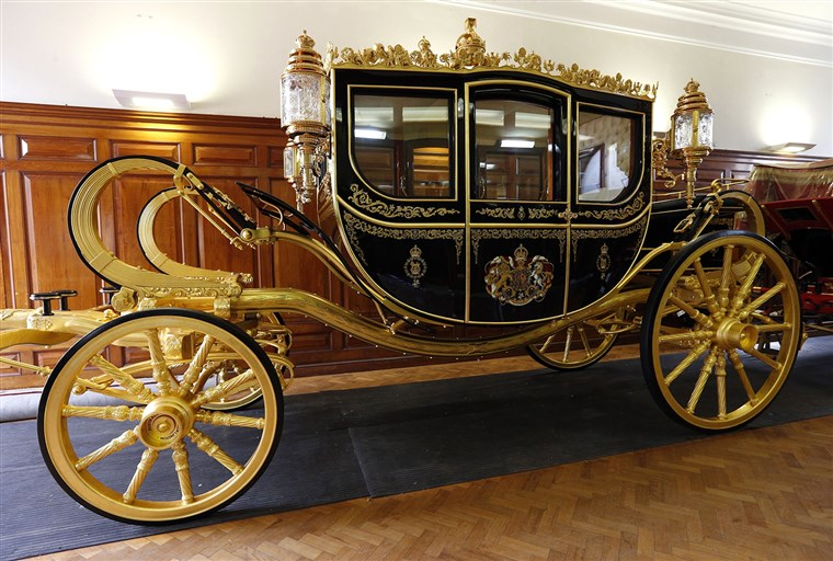 De new Diamond Jubilee state coach which will be used by Queen Elizabeth II during the State Opening of Parliament on June 4.