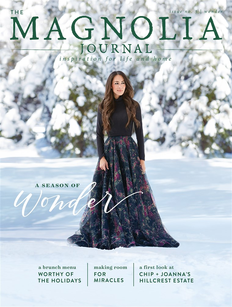 Joanna Gaines cover shoot for the winter 2017 edition of her and husband Chip's magazine, The Magnolia Journal.