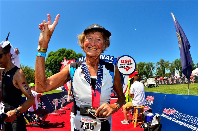 Iron Nun Sister Madonna Buder forgot her sneakers at recent triathlon