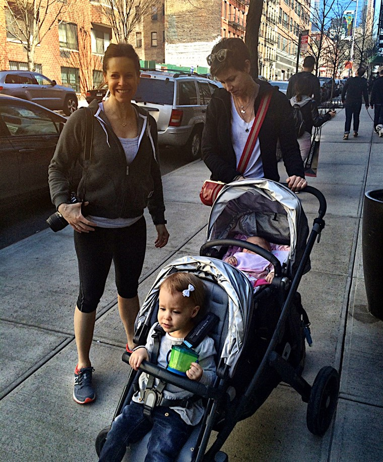 Quarto in our hearts... and in the new stroller. Jenna Wolfe and Stephanie Gosk step out with daughters Harper and Quinn.