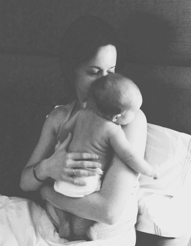 Jenna Wolfe and baby Quinn, enjoying a snuggle.