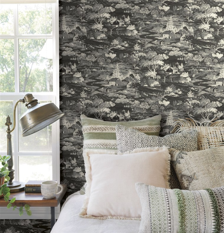 Homestead: This traditional toile pattern is a vintage depiction of fields and farm life.