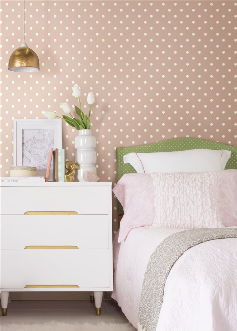 dots: Polka dots in soft, muted colors bring a charming spot treatment to any space.
