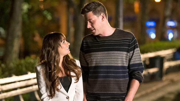 Lea Michele and Cory Monteith on the set