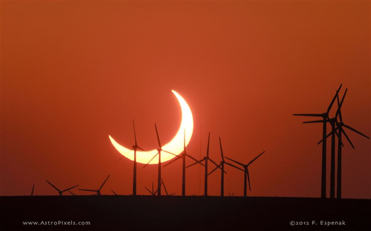 The annular solar eclipse among wind turbines in Elida, New Mexico, in 2012.