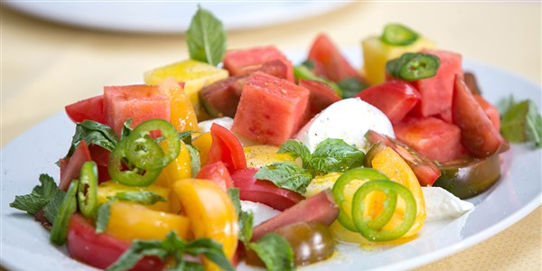 Heirloom Tomato and Watermelon Salad with Mozzarella