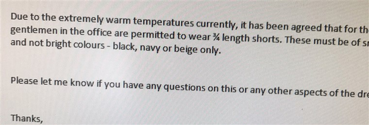 aak tweeted this photo of an email from his company, amending its 'no shorts' rule for men at the office.