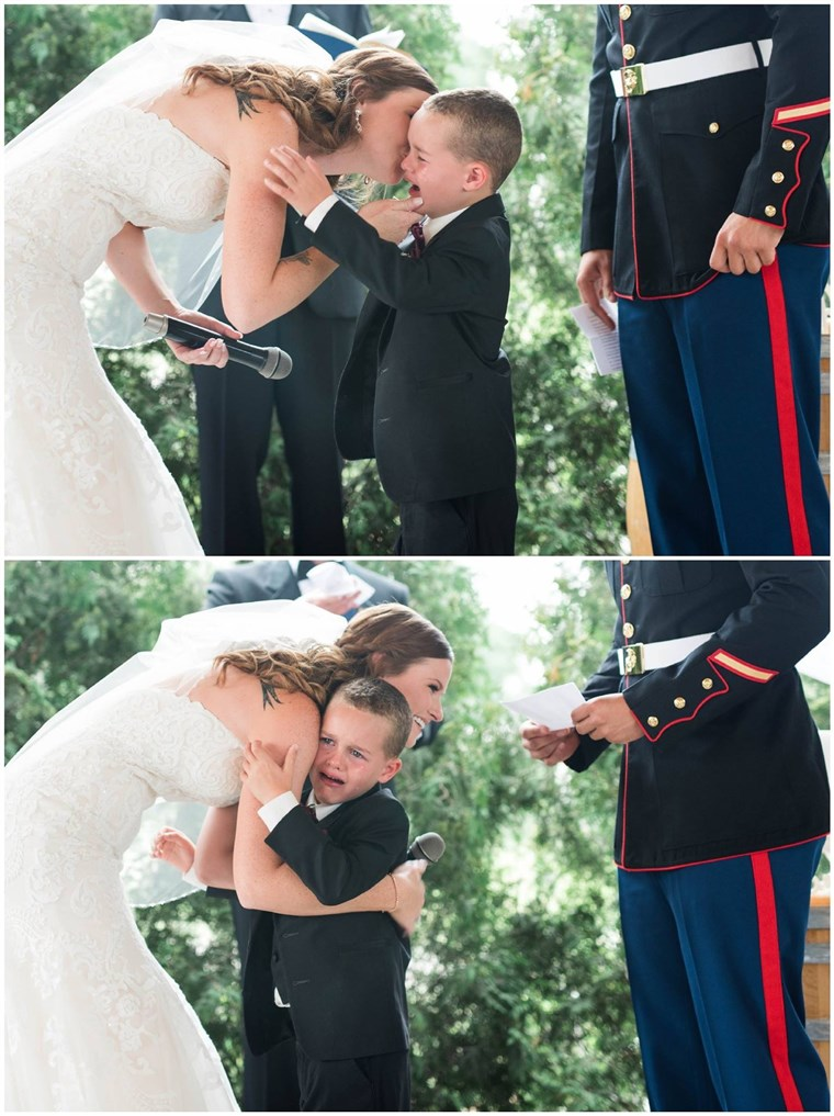 ONS. Marine Corps Sergeant Joshua Newville and Senior Airman Emily Leehan got married on Saturday in upstate New York. Newville's son, Gage, became overwhelmed with emotion at the ceremony.