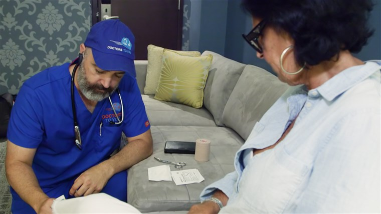 "brun with a patient at a D.C. hotel. ""I can do more in one house call than I could ever do sitting in a box at a clinic, being told I have to see patients every 10 minutes,"