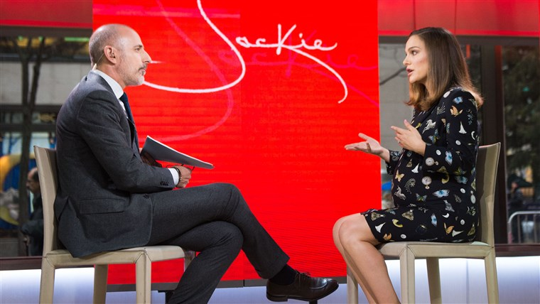 Matt Lauer and Natalie Portman on TODAY on November 29, 2016.