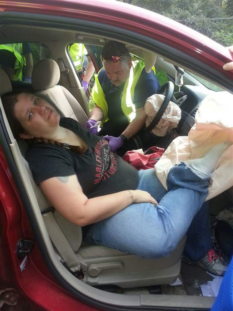Audra Tatum, a mother of three from Georgia, is warning against the dangers of putting your feet on the dashboard while in a moving car after suffering life-altering injuries in a crash.