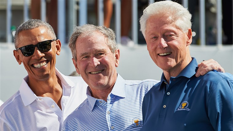 Były presidents Barack Obama, George W. Bush and Bill Clinton had themselves a great time before the opening round of the Presidents Cup golf tournament in New Jersey.