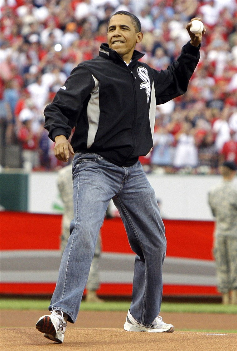 ** FILE ** In this July 14, 2009 file photo, President Barack Obama throws out the first pitch to St. Louis Cardinals first baseman Albert Pujols, not...