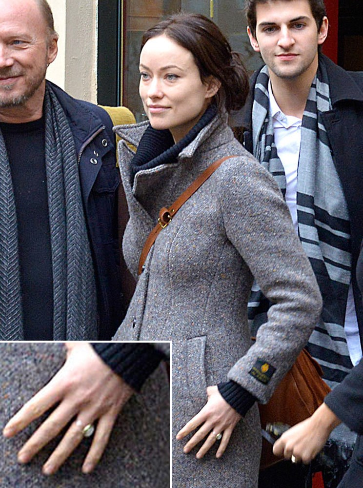 Olivia Wilde's new engagement ring from Jason Sudeikis is visible during a visit to Rome.
