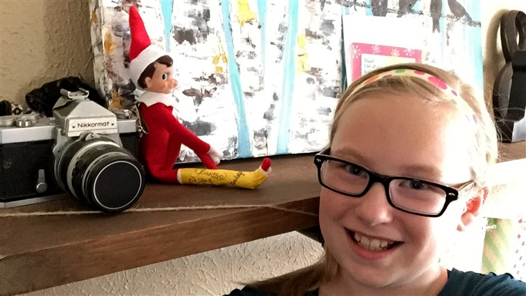 Hannah Boles takes a daily selfie with her 'broken' elf.