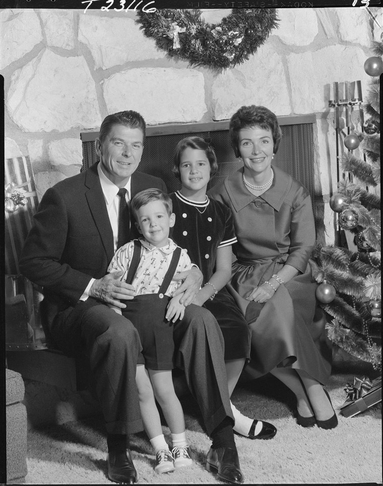 Ronald Reagan with his wife Nancy Davis, and 2 children, Patricia Ann, and Ronald Prescott.