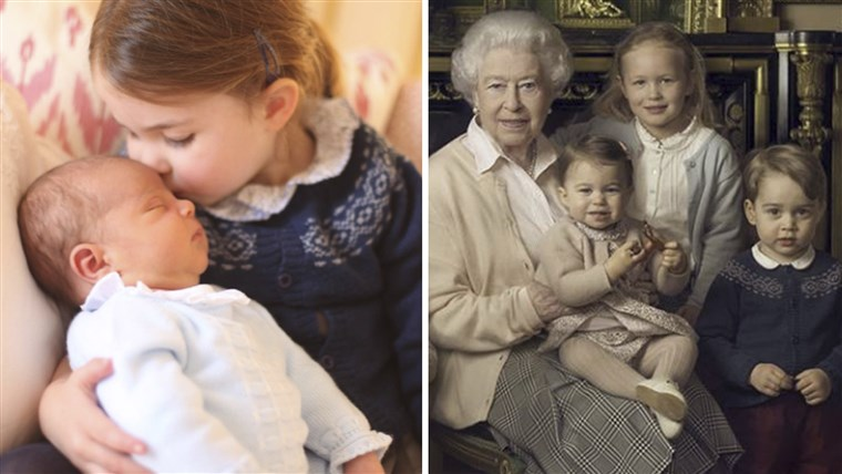 Puteri Charlotte and Prince Louis in new photo, and in older portrait with Queen Elizabeth.
