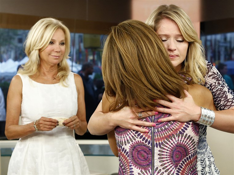Hoda hugs Sara on her last day.