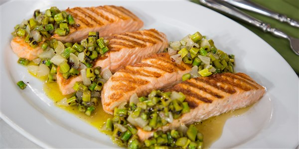 Scott Conant's Grilled Salmon with Asparagus Tapenade