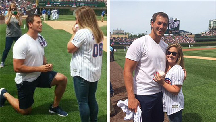 Shawn Johnson engaged to Andrew East after throwing first pitch.