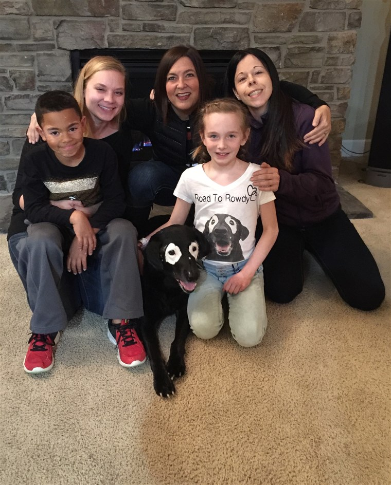 Niki Umbenhower with Rowdy, Julie Brown, Ava, 10, Stephanie Adcock, and Carter, 8.