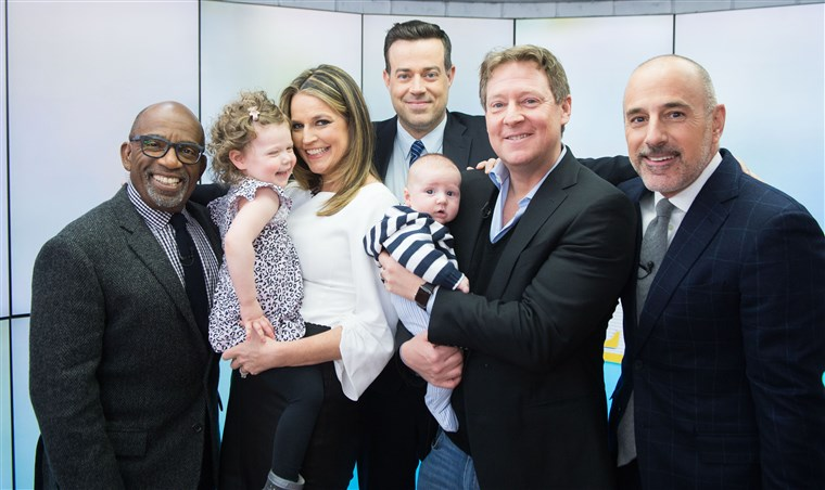 De gang's all here: Al Roker, Savannah Guthrie, Carson Daly, Mike Feldman, Matt Lauer and little ones, Vale and Charley.