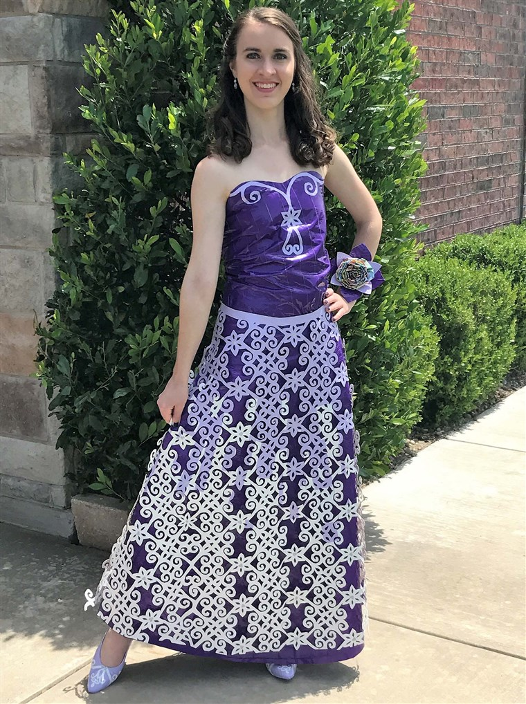 Allison used 13 rolls of Duck Tape and spent 79 hours on her white and lilac prom dress.