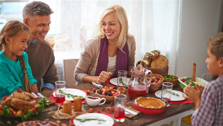Szczęśliwy family of four celebrating Thanksgiving day; Shutterstock ID 225143923; PO: TODAY.com