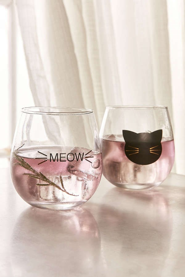 Meow Stemless Wine Glass