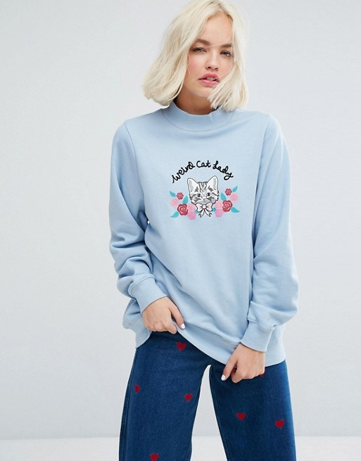 Malas Oaf High Neck Sweatshirt With Weird Cat Lady Embroidery