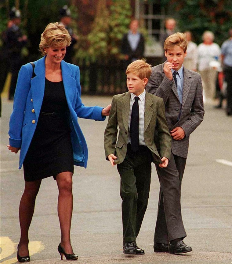 Principe William with Princess Diana and brother Prince Harry